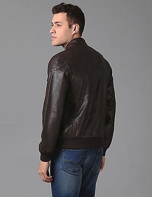 True Blue Slim Fit Textured Biker Jacket