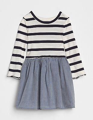 GAP Baby Stripe Mix-Fabric Dress