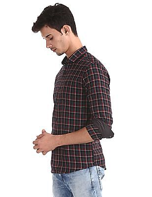 Roots by Ruggers Grey Contemporary Regular Fit Check Shirt