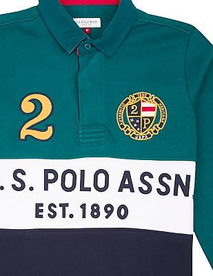 U.S. Polo Assn. Kids Boys Colour Block Long Sleeve Polo Shirt