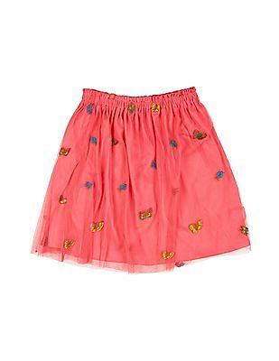Cherokee Girls Embroidered Layered Skirt