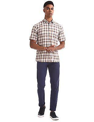 Arrow Sports Beige Patch Pocket Check Shirt