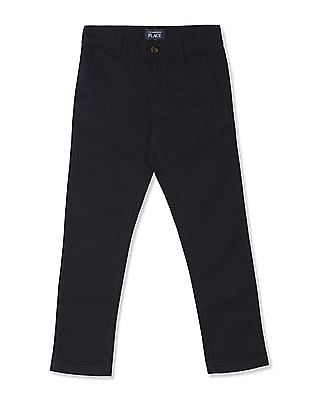The Children's Place Boys Blue Skinny Fit Cotton Stretch Chinos