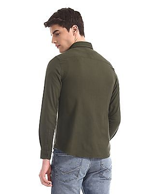 U.S. Polo Assn. Denim Co. Green Rounded Cuff Solid Shirt