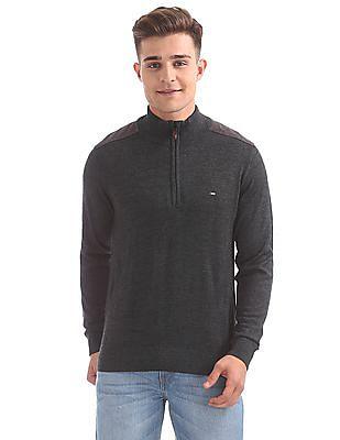 Arrow Sports High Neck Zip Up Sweater