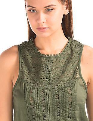 GAP Women Green Crochet Pintuck Tank