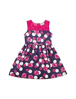 Cherokee Girls Lace Yoke Floral Printed Fit And Flare Dress