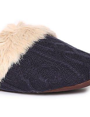 Aeropostale Cable Knit Faux Fur Slides