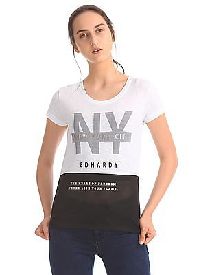 EdHardy Women Mesh Panel Colour Block T-Shirt