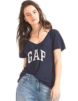 GAP Women Blue Foil Logo Pocket Tee