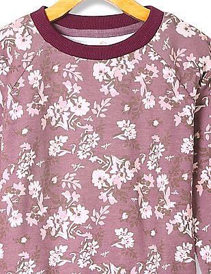 U.S. Polo Assn. Kids Girls Standard Fit Floral Print Sweatshirt