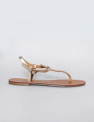 GAP Women Gold T Strap Leather Sandals
