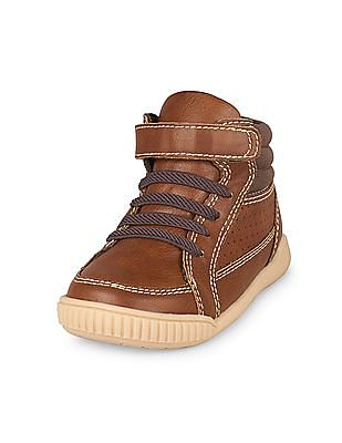The Children's Place Toddler Boy Brown Hi-Top Turbo Sneaker