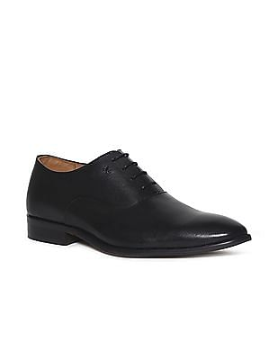 Arrow Black Textured Panel Leather Oxford Shoes
