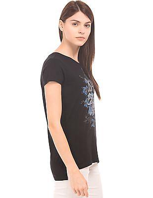 U.S. Polo Assn. Women Printed Front Cotton T-Shirt