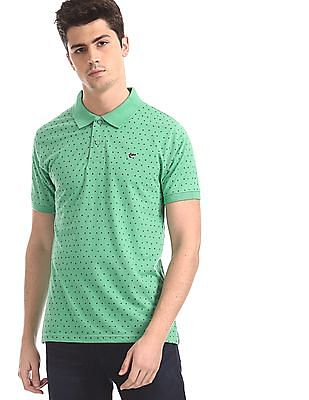 Ruggers Green Regular Fit Printed Polo Shirt