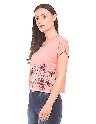 SUGR Floral Print Boxy Top