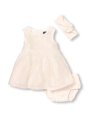 The Children's Place Baby Girls Sleeveless Sequined Dress, Head Wrap, And Bloomers Set