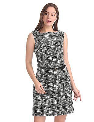 Elle Studio Printed Belted A-Line Dress