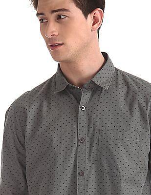 Ruggers Grey Spread Collar Printed Shirt