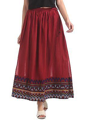 Bronz Printed Hem Maxi Skirt