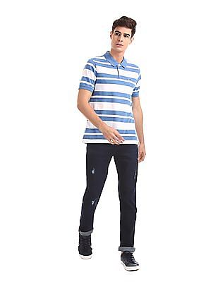 Ruggers Blue And White Patch Pocket Striped Polo Shirt