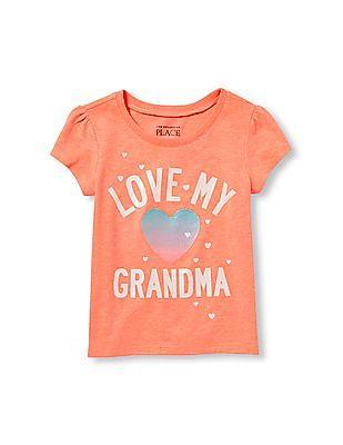 The Children's Place Toddler Girl Short Sleeve Glitter 'Love My Grandma' Heart Graphic Tee