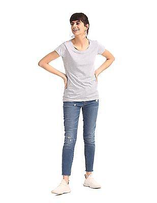 SUGR Grey Heathered Round Neck T-Shirt