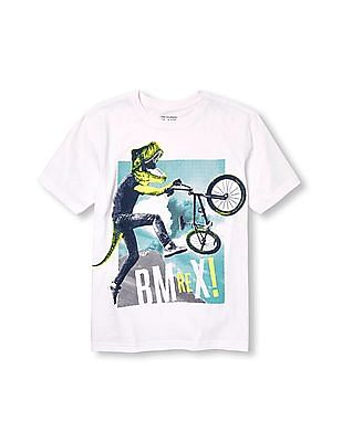 The Children's Place Boys White Short Sleeve 'BMRex' Dino-Kid Graphic Tee