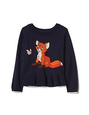 GAP Toddler Girl Blue Disney Intarsia Peplum Sweater