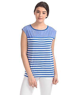 Nautica Cap Sleeves Mix Print T-Shirt
