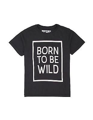 FM Boys Boys Text Print Slim Fit T-Shirt