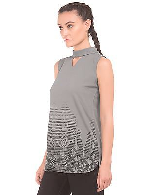 Cherokee Printed Cutout Top