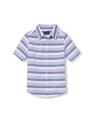 The Children's Place Boys Short Sleeve Striped Oxford Button Down Shirt