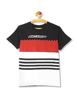FM Boys Boys Colour Block Panel Cotton T-Shirt