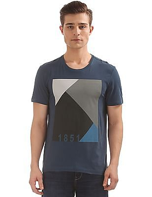 Arrow Newyork Colour Block Print Crew Neck T-Shirt