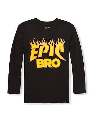 The Children's Place Boys Long Sleeve 'Epic Bro' Flame Graphic Tee