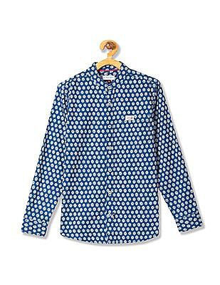 U.S. Polo Assn. Kids Boys Mandarin Collar Printed Shirt