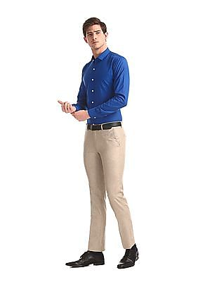 Excalibur Beige Contemporary Regular Fit Solid Trousers
