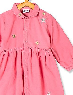 Donuts Pink Girls Embroidered Corduroy Dress