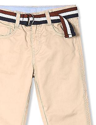 Cherokee Beige Boys Solid Belted Trousers