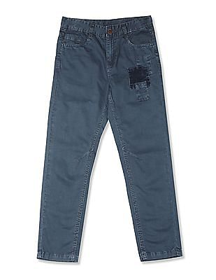 Cherokee Blue Boys Flat Front Cotton Trousers
