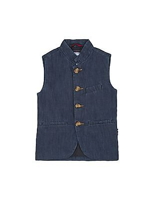 U.S. Polo Assn. Kids Boys Washed Chambray Nehru Jacket