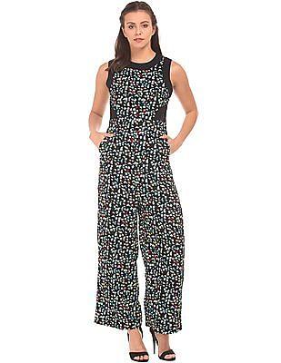 SUGR Geometric Printed Lace Trim Jumpsuit