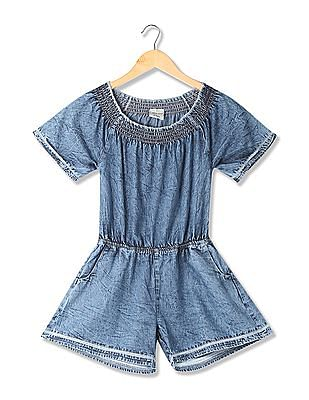 Cherokee Girls Chambray Cotton Romper