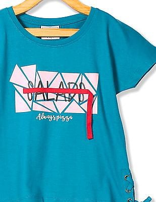 Cherokee Girls Printed Lace Up Top