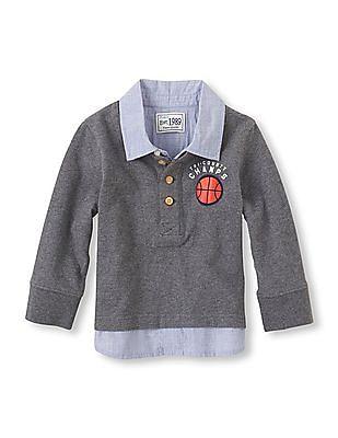 The Children's Place Toddler Boy Long Sleeve Shirt Collar T-Shirt