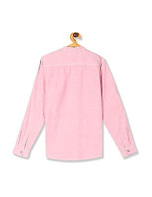 FM Boys Pink Boys Mandarin Collar Vertical Stripe Shirt