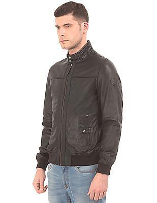 U.S. Polo Assn. Ribbed Hem Leather Biker Jacket