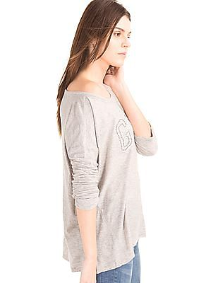 GAP Women Grey Embroidered Logo Boxy Top
